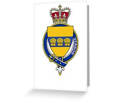 Coat of arms (family crest) for last-name or surname Vernon (England) . Heraldry banner for your name. Greeting Card