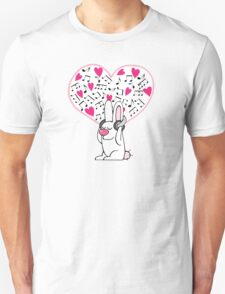 Rabbit with music addiction Unisex T-Shirt