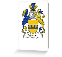 Coat of arms (family crest) for last-name or surname Vernon . Heraldry banner for your name. Greeting Card