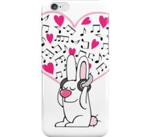 Rabbit with music addiction iPhone Case/Skin