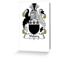 Coat of arms (family crest) for last-name or surname Vickery . Heraldry banner for your name. Greeting Card