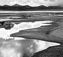 BW Mono Lake Reflections & Mountains by Chris Whitney