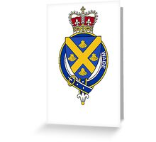 Coat of arms (family crest) for last-name or surname Wade (England) . Heraldry banner for your name. Greeting Card