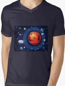 Mars Planet Mens V-Neck T-Shirt