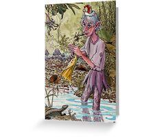 elf plays the trumpet flower in a pond Greeting Card