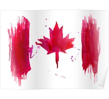 Watercolor flag of Canada Poster