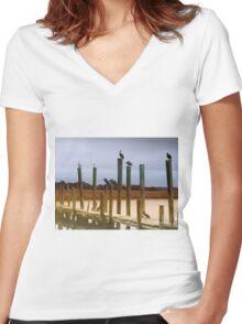 Waiting on the Shrimp Boat Women's Fitted V-Neck T-Shirt