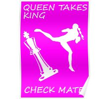 Queen Takes King Check Mate Female Kickboxer White Jumping Back Kick  Poster