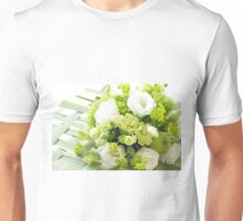 Bouquet from different white seasonal flowers Unisex T-Shirt