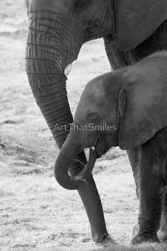 """""""Trunkated"""" - mother and baby elephant by ArtThatSmiles"""
