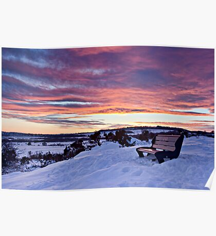 A Seat at Sunset - Waldridge Fell Country Park. Poster