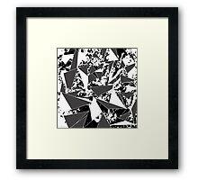 Modern Black & White Paint Splattered Triangles Framed Print