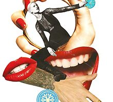 Red lips paper collage by Lenka Laskoradova by Lenka Laskoradova