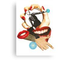 Red lips paper collage by Lenka Laskoradova Canvas Print