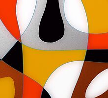 Hot colors, abstract cubism, orange and red, black and white by ackelly4