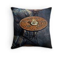 Empty Glass on Table Throw Pillow