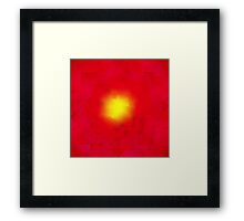 Modern Red and Yellow Geometric Abstract Sunburst Framed Print