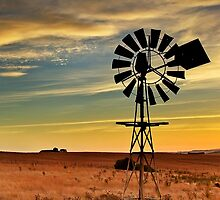 Sunset windmill by Hans Kawitzki