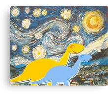 Cute Cartoon Dinosaurs looking at a Starry Night Painting Landscape Canvas Print