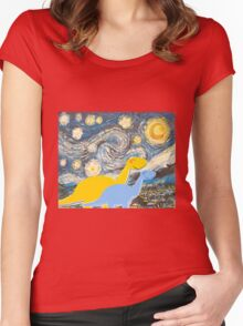 Cute Cartoon Dinosaurs looking at a Starry Night Painting Landscape Women's Fitted Scoop T-Shirt