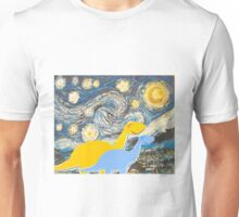 Cute Cartoon Dinosaurs looking at a Starry Night Painting Landscape Unisex T-Shirt