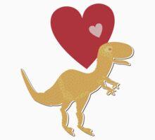 Cute Cartoon Dinosaur Orange T-Rex Love Heart One Piece - Long Sleeve