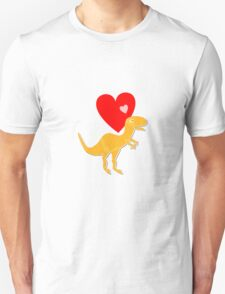 Cute Cartoon Dinosaur Orange T-Rex Love Heart T-Shirt