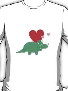 Cute Cartoon Dinosaur Green Triceratops Love Hearts T-Shirt