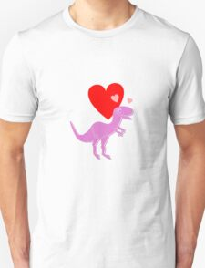 Cute Cartoon Dinosaur Pink Purple T-Rex Love Hearts T-Shirt