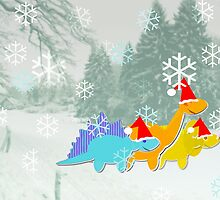 Cute Cartoon Dinosaurs in a Christmas Snow Landscape by cutecartoondino