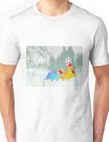 Cute Cartoon Dinosaurs in a Christmas Snow Landscape Unisex T-Shirt