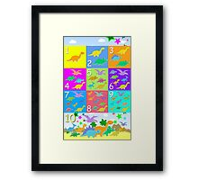 Counting with Cute Cartoon Dinosaurs 1 to 10 Framed Print