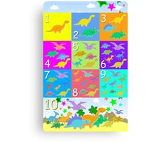 Counting with Cute Cartoon Dinosaurs 1 to 10 Canvas Print