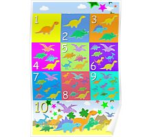 Counting with Cute Cartoon Dinosaurs 1 to 10 Poster