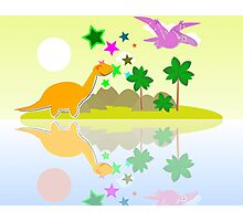Cute Dinosaurs on a Tropical Holiday Island Photographic Print