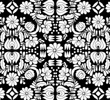 Modern Black and White Floral Damask Filigree Pattern by Blkstrawberry