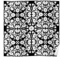 Modern Black and White Floral Damask Filigree Pattern Poster