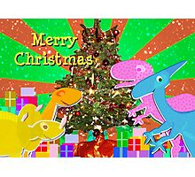 Cute Cartoon Dinosaurs by the Merry Christmas Tree Photographic Print
