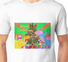 Cute Cartoon Dinosaurs by the Merry Christmas Tree Unisex T-Shirt