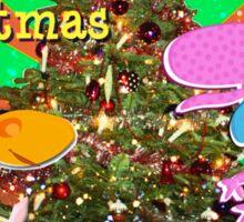 Cute Cartoon Dinosaurs by the Merry Christmas Tree Sticker