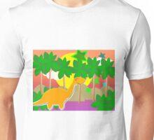 Cute Cartoon Dinosaur Tropical Sunset/ Sunrise Unisex T-Shirt