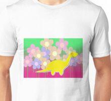 Cute Cartoon Dinosaur Yellow Diploducus Color Flowers Unisex T-Shirt