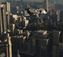 Shuttle Craft over the Future City Sticker