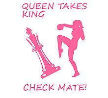 Queen Takes King Check Mate Female Kickboxer Punch and Knee Pink  Photographic Print