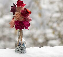 Origami roses in the snow by Katerina Ioannidou