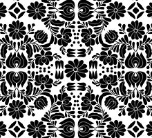 Modern White and Black Floral Damask Filigree Pattern by Blkstrawberry