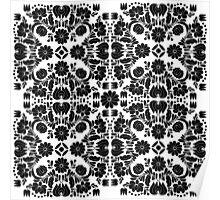 Modern White and Black Floral Damask Filigree Pattern Poster