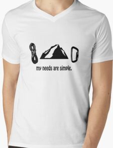 Simple needs rock climbing geek funny nerd Mens V-Neck T-Shirt