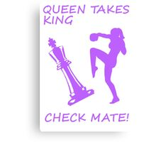 Queen Takes King Check Mate Female Kickboxer Punch and Knee Purple Canvas Print