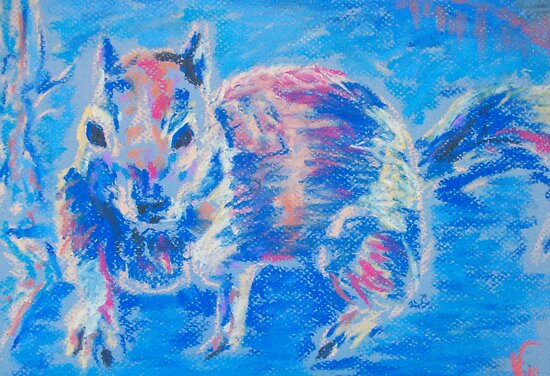 Squirrel! (Pastel) by Niki Hilsabeck
